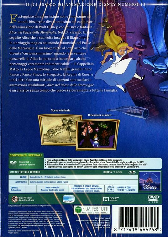 Alice nel Paese delle meraviglie (DVD)<span>.</span> Limited Edition di Clyde Geronimi,Hamilton Luske,Wilfred Jackson - DVD - 2