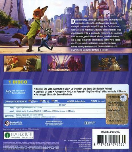Zootropolis (Blu-ray) di Byron Howard,Rich Moore,Jared Bush - Blu-ray - 2