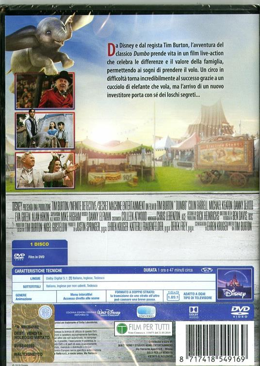 Dumbo Live Action (DVD) di Tim Burton - DVD - 2
