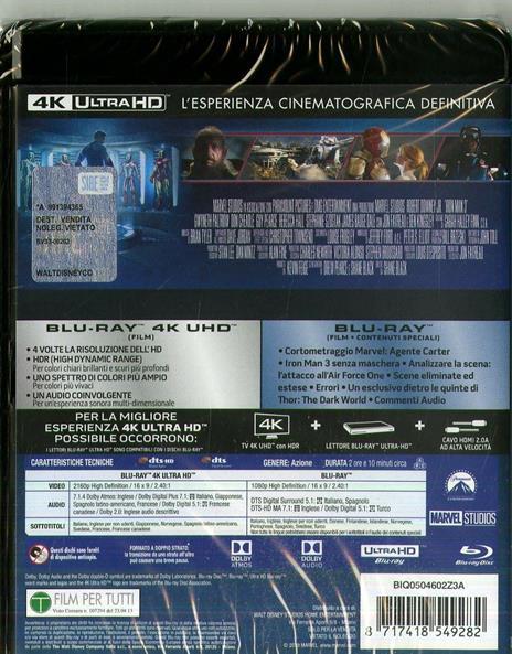 Iron Man 3 (Blu-ray + Blu-ray 4K Ultra HD) di Shane Black - Blu-ray + Blu-ray Ultra HD 4K - 2