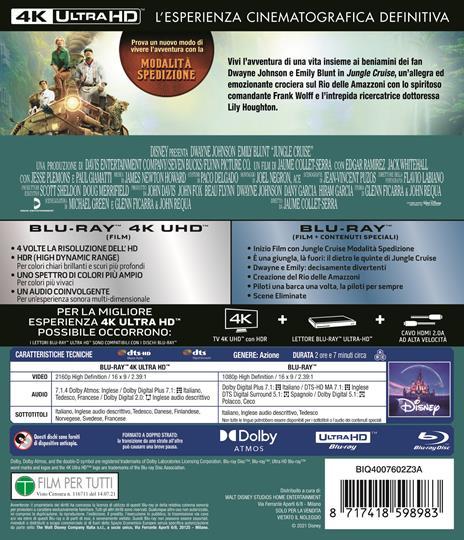 Jungle Cruise (Blu-ray + Blu-ray Ultra HD 4K) di Jaume Collet-Serra - Blu-ray + Blu-ray Ultra HD 4K - 2