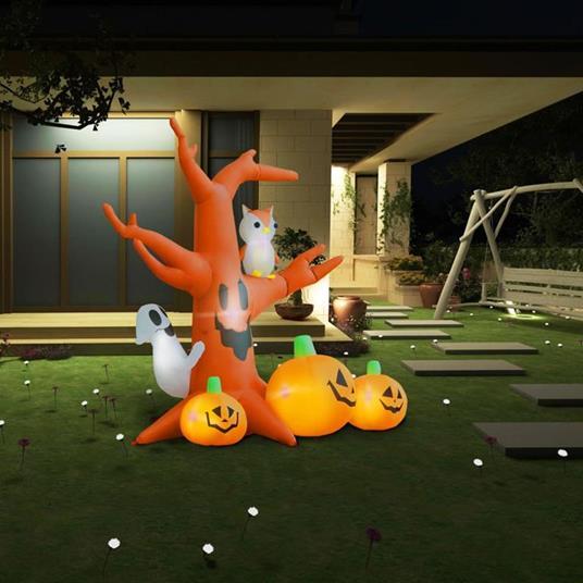 vidaXL Albero Fantasma Gonfiabile con Zucche per Halloween