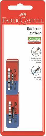 Gomme in caucciù a scalpello Faber-Castell per matita e inchiostro. Confezione 2 gomme rosse e blu
