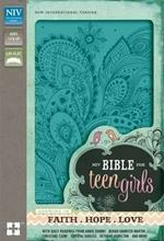 NIV, Bible for Teen Girls, Leathersoft, Blue: Growing in Faith, Hope, and Love