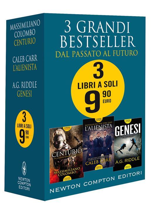 3 grandi bestseller. Dal passato al futuro: Centurio-L'alienista-Genesi - Massimiliano Colombo,Caleb Carr,A. G. Riddle - copertina