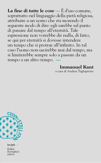 La fine di tutte le cose - Immanuel Kant - copertina