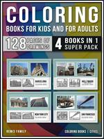 Coloring Books for Kids and for Adults  (4 Books in 1 Super Pack)