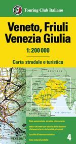 Veneto, Friuli Venezia Giulia 1:200.000. Carta stradale e turistica