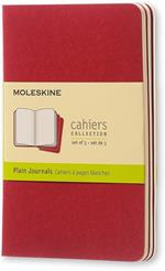 Quaderno Cahier Journal Moleskine pocket a pagine bianche rosso. Cranberry Red. Set da 3