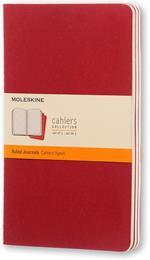 Quaderno Cahier Journal Moleskine large a righe rosso. Cranberry Red. Set da 3