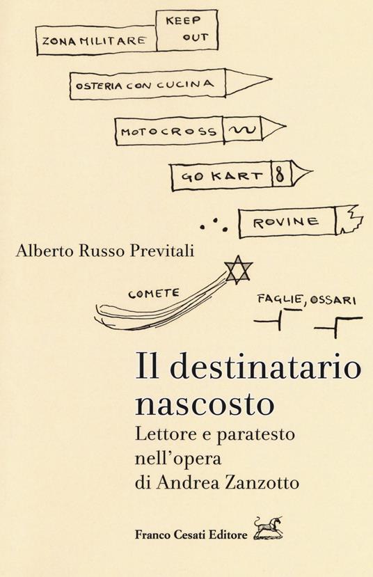 Il destinatario nascosto. Lettore e paratesto nell'opera di Andrea Zanzotto - Alberto Russo Previtali - copertina