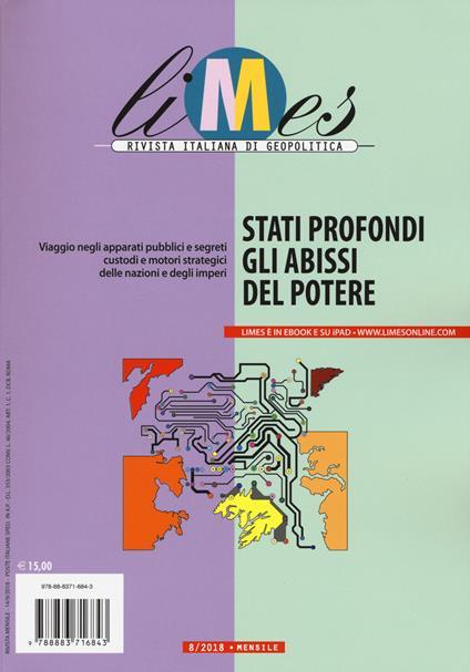 Limes. Rivista italiana di geopolitica (2018). Vol. 8: Stati profondi. Gli abissi del potere (agosto). - copertina