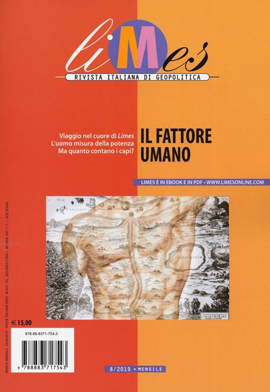 Limes. Rivista italiana di geopolitica (2019). Vol. 8: fattore umano, Il. - copertina