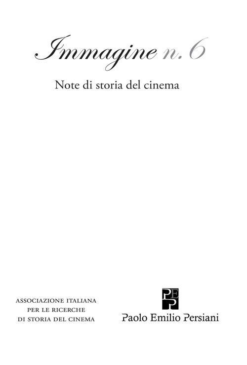 Immagine. Note di storia del cinema. Vol. 6 - copertina