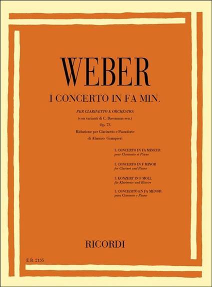 Concerto n. 1 in Fa min. Op. 73. Weber. Riduzione per Clarinetto e Pianoforte -  Carl Maria von Weber - copertina
