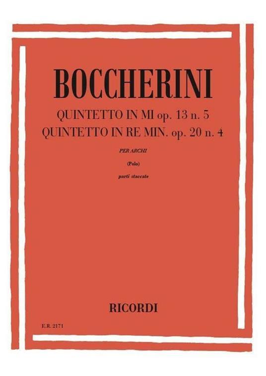 Quintetti: N. 1 in Mi Op. 13, N. 5. N. 2. Quintetto d'archi -  Luigi Boccherini - copertina
