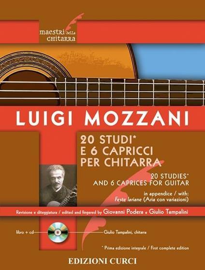 20 studi e 6 capricci per chitarra. Spartito -  Luigi Mozzani - copertina