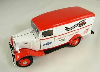 TinS M.Chevy Sedan Delivery 35 White/Red Genuine Chevrolet Acc.1/24 76301