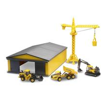 Volvo Die Cast Playset With Crane 1 Shed 32105 Ss Giallo