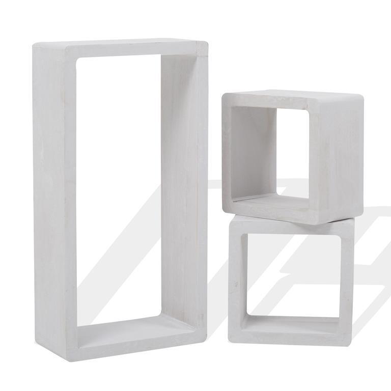 Mensole Per Scaffali.Mensole Scaffali Pensili Set 3 Pz Rettangolo Cubo Design Legno Bianco Shabby