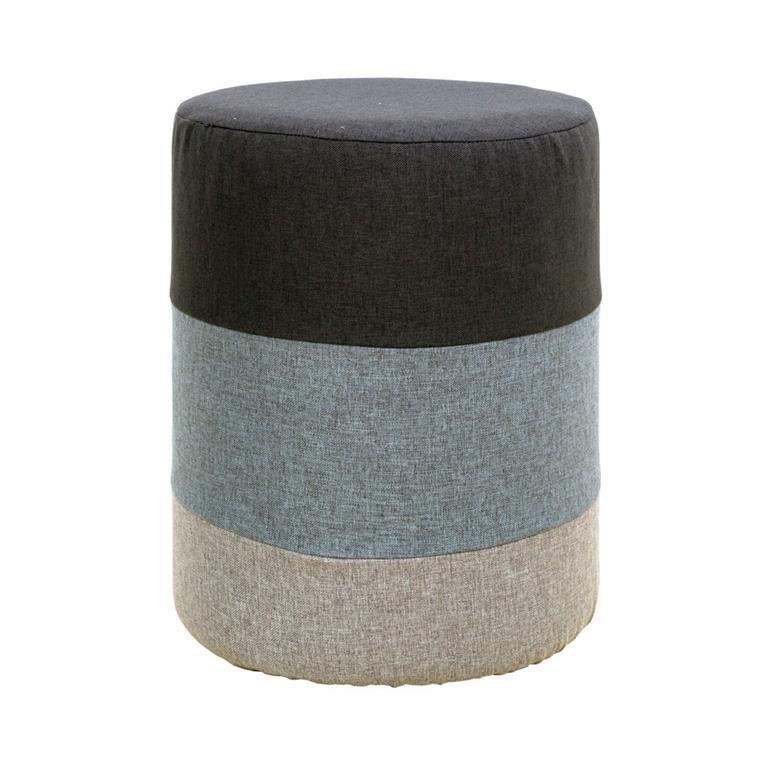 Pouf sgabello rotondo tessuto grigio bianco complementi d for Complementi arredo soggiorno