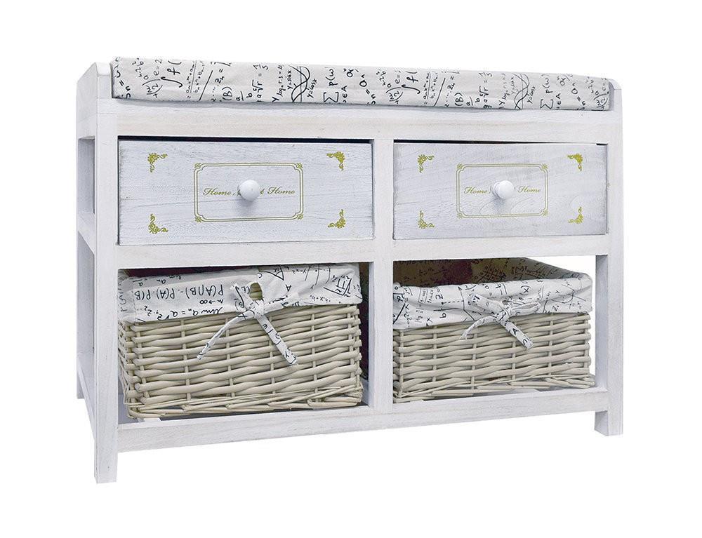 Panca Contenitore Bianca : Mobili rebecca® panca contenitore bianco shabby 2 cassetti legno 2
