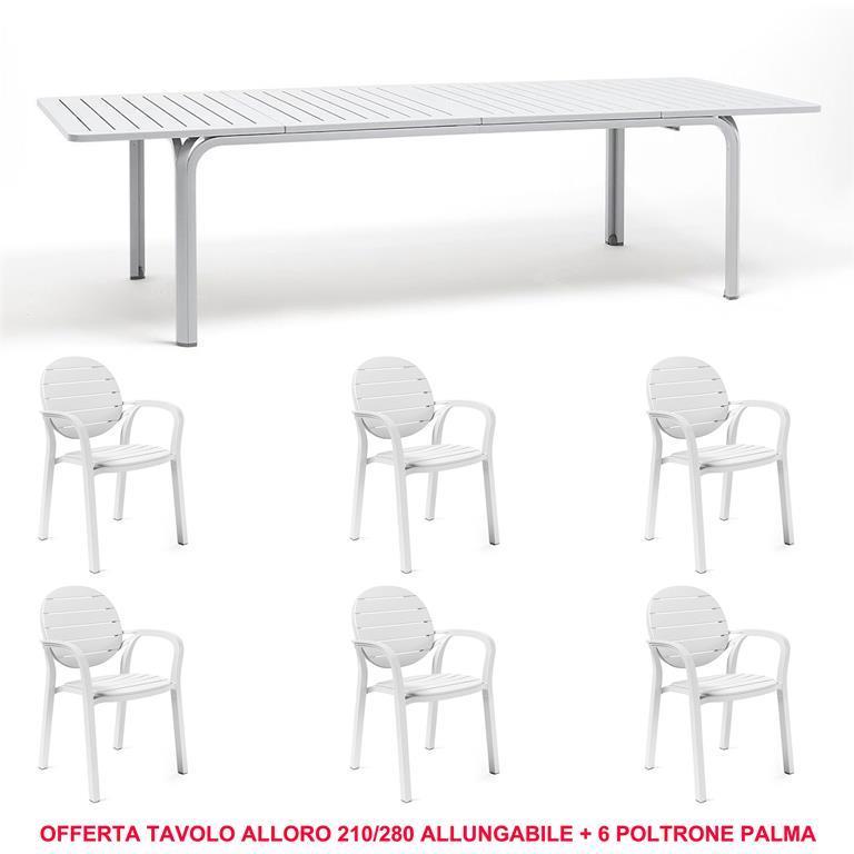 Offerta Tavolo Allungabile Alloro 210/280 Cm + 6 Poltrone Palma ...