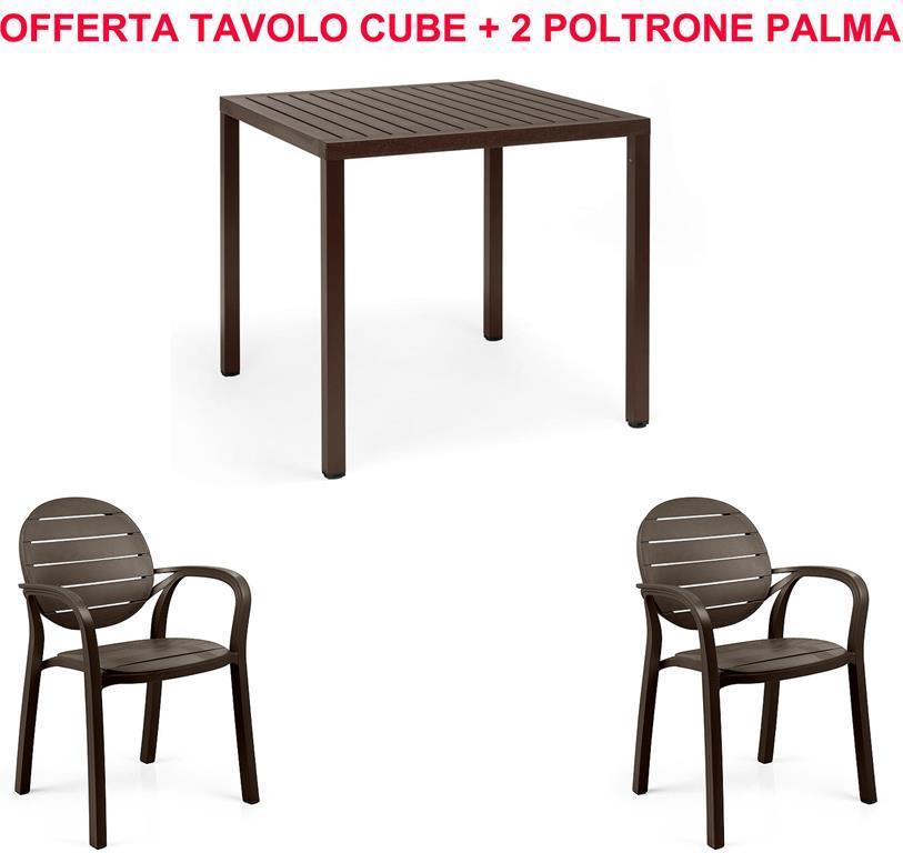 Offerta Tavolo Cube 80X80 + 2 Sedie Palma Caffe\' - Nardi - Casa e ...
