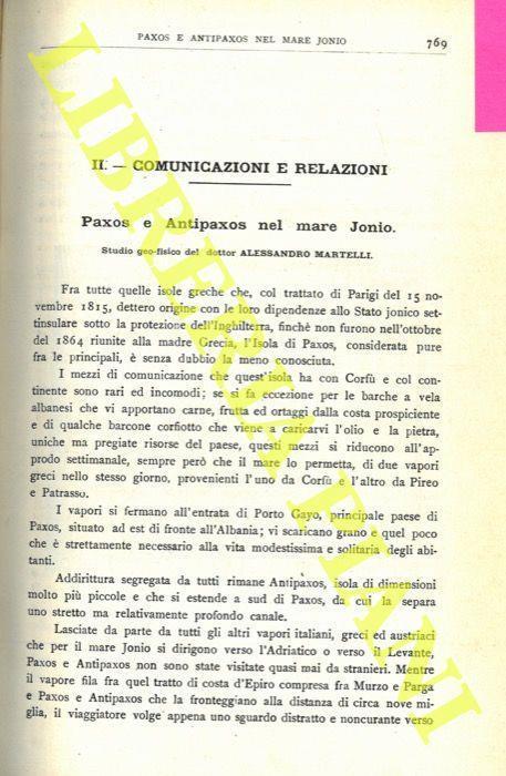 Paxos Cartina Geografica.Paxos E Antipaxos Nel Mare Jonio Alessandro Martelli Libro Usato Societa Geografica Italiana Ibs