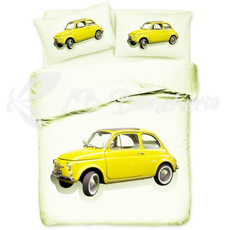 Auto Letto Matrimoniale.Parure Copripiumino Vintage Stampa Digitale Prezioso Cotone 2 Piazze Letto Matrimoniale Auto 500 Gialla