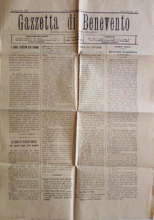 Gazzetta Di Benevento 1922 Giornale Politico Amministrativo Libro Usato Tipi D Alessandro Benevento Gazzetta Di Benevento Giornale Politico Amministrativo Ibs