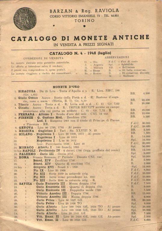 1aa71108e3 Catalogo di monete antiche. in vendita a prezzi segnati - copertina