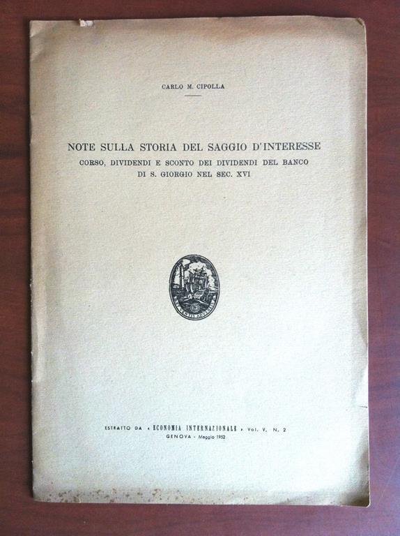 Brossura Note sulla storia del saggio d'interesse Genova ...