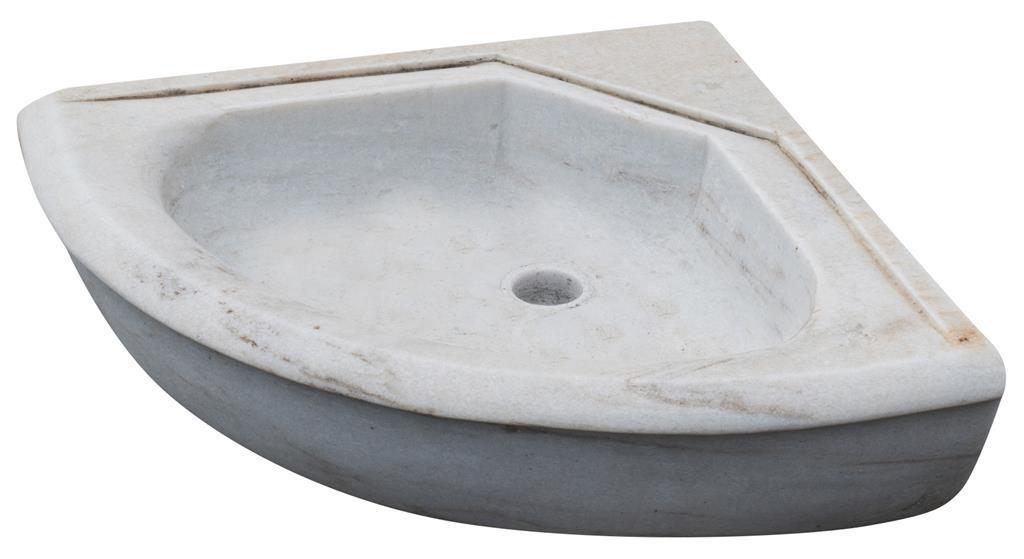 Lavandino ad angolo in marmo bianco L50xPR50xH15 cm - - Casa e ...