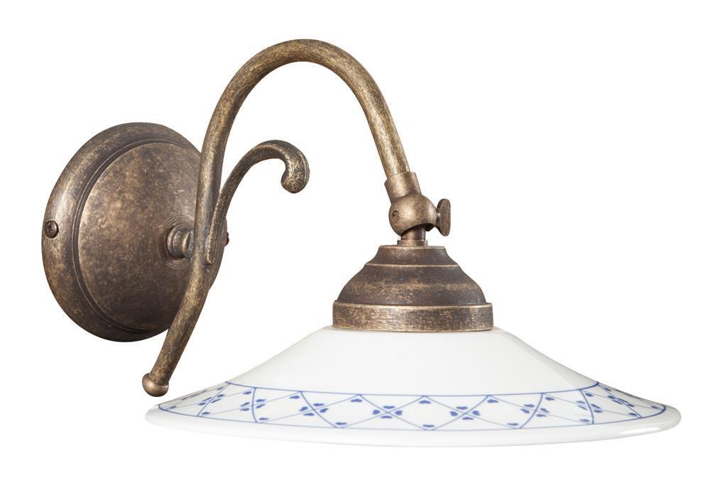 Lampada applique a muro style country in fusione di ottone