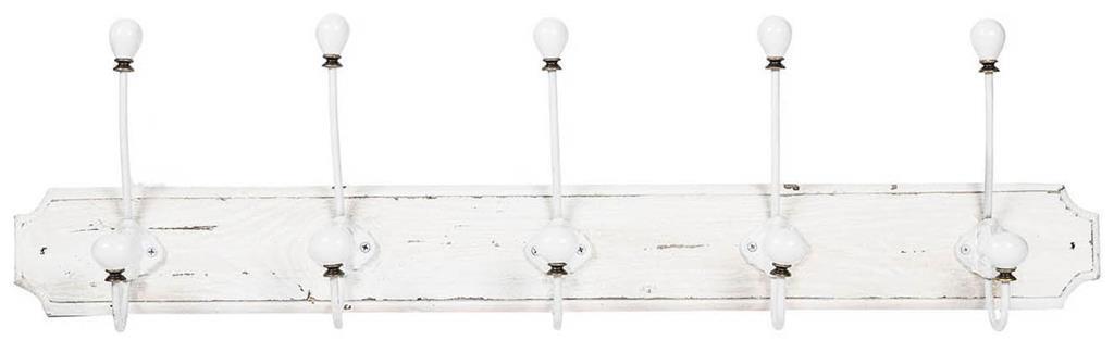 Attaccapanni da parete in legno massiccio e ferro forgiato a mano finitura bianco anticato 80x10x21 cm
