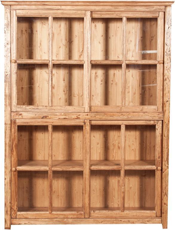Libreria vetrina con ante scorrevoli in legno massello di tiglio, finitura  naturale L154xPR37xH212 cm. Made in Italy
