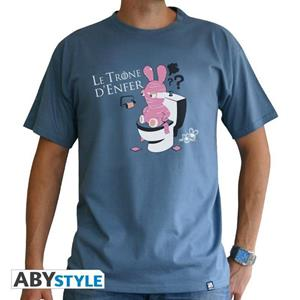 Lapins Cretins. T-shirt Throne Man Ss Stone Blue. Basic Extra Small