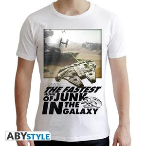 Star Wars. T-shirt Falcon Graphic Man Ss White. New Fit Double Xl