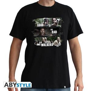 The Walking Dead. T-shirt Good,Bad,Walkers Man Ss Black. Basic Extra Large