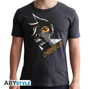 Overwatch. T-shirt Tracer Man Ss Dark Grey. New Fit Double Xl