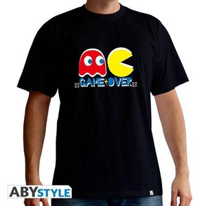 Pac-Man. T-shirt Game Over Man Ss Black. New Fit Extra Large