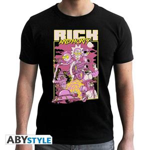 Rick And Morty. T-shirt Movie Man Ss Black. New Fit Double Xl