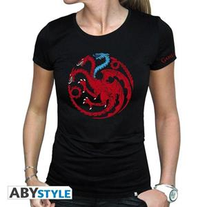 Game Of Thrones. T-shirt Targaryen Viserion Woman Ss Black. Basic Medium