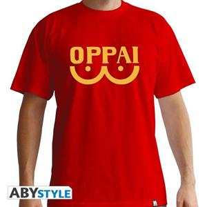 One Punch Man. T-shirt Oppai Man Ss Red. Basic Extra Large