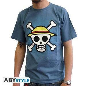 "One Piece. Tshirt ""Skull With Map"" Man Ss Stone Blue. Basic"