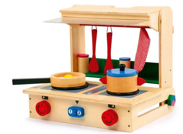 Valigetta con cucina giocattolo in legno 40x34cm. legler cucina