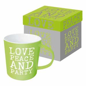 Ppd Mug Trend Tazza Love, Peace&Amp;Party Time 9,5X9,5 Cm 350 Ml Ceramica
