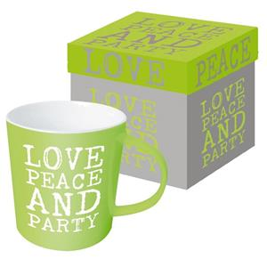 Ppd Mug Trend Tazza Love, Peace&Amp;Party Time 9,5X9,5 Cm 350 Ml Ceramica - 2