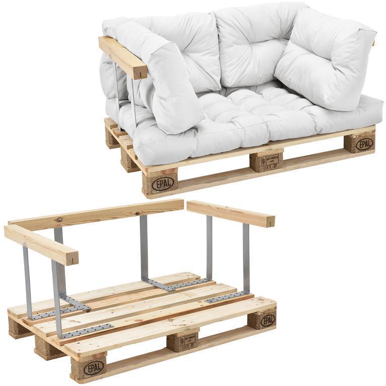 Divano palette euro. mobili DIY. Divano per dentro con cuscini per le  palette ideale per salotto. giardino d´inverno bianco- incl. 1 paletta euro  + 4 ...